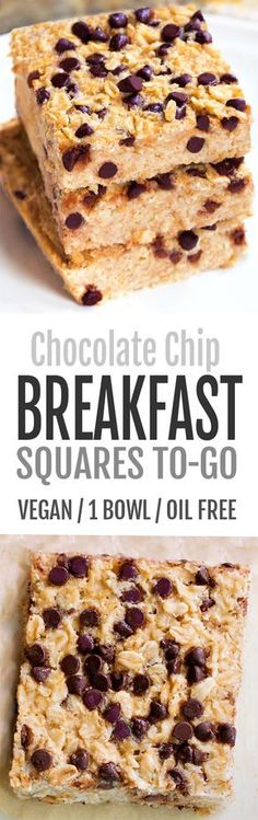Chocolate Chip Oatmeal Breakfast Squares To-Go Chocolate Covered Katie Vegan Desserts, Vegan Recipes, Dessert Recipes, Cooking Recipes, Dessert Bars, Brunch Recipes, Bread Recipes, Healthy Breakfast Meal Prep, Breakfast And Brunch