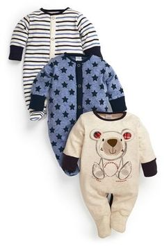 Buy Stone Bear Sleepsuits Three Pack (0mths-2yrs) from the Next UK online shop