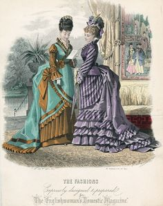 June fashions, 1874 England, The Englishwoman's Domestic Magazine (Interesting juxtaposition of Western fashions foregrounded and Asian fashions backgrounded) 1870s Fashion, Edwardian Fashion, Vintage Fashion, Medieval Fashion, Historical Costume, Historical Clothing, Art Costumes, Gravure Illustration, Victorian Costume