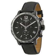 Tissot Quickster Chronograph Black Dial Black Leather Men's Watch T0954173605702
