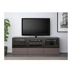 BESTÅ TV unit with doors and drawers, black-brown, Valviken dark brown clear glass - 180x40x64 cm - drawer runner, soft-closing - IKEA