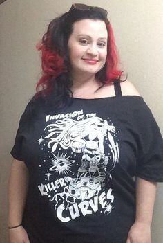 Thresa Saenz in her 'Invasion of the Killer Curves' Slash neck tee.  Just one of the tshirts from our Plus Size Range at www.nickyrockets.com  #killercurves #sexypirate #raygun #nickyrockets #invasionofthekillercurves #curvypinup #plussizetshirts #curvy #plussize #bodypositive #curvygirls