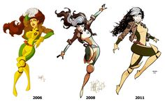 Evolution  Art by: Marcio Takara  The evolution of Rogue