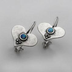 Silver Earrings Shablool Female 925 Sterling Silver Cabochon Opal Blue