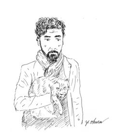 I drew a man with a cat using ball-point pen.