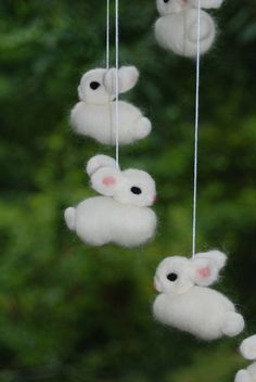 All White Bunny Mobile Needle Fellted 6 Bunnies Handmade Baby