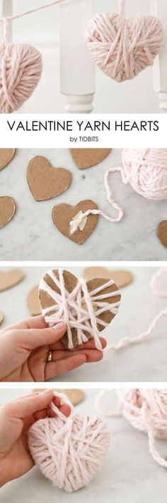 Valentine Yarn Hearts - a perfect craft for the whole family! Valentine Yarn Hearts – a perfect craft for the whole family! Valentine Yarn Hearts – a perfect craft for the whole family! Valentines Bricolage, Valentine Day Crafts, Be My Valentine, Holiday Crafts, Christmas Crafts, Kids Valentines, Valentine Ideas, Christmas Nails, Christmas Ideas