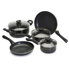 Ecolution Artistry PFOA Free Non-Stick 8-Piece Cookware Set - Heavy-Gauge Aluminum w/ Soft Silicone Handles - Black >>> Learn more by visiting the image link.