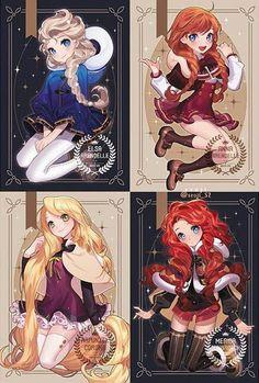 Prinzessinnen als Anime-Figuren - disney - - Mara E. Prinzessinnen als Anime-Figuren - disney - - Film Manga, Film Anime, Cartoon As Anime, Drawing Cartoon Characters, Art Anime, Cartoon Drawings, Anime Characters, Art Drawings, Ariel Cartoon