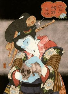 'Dying woman with skull' by Hiroshi Hirakawa. YOU can check out 9 other exciting images + video of Hiroshi Hirakawa's art by clicking this image NOW. Japanese Art Prints, Japanese Drawings, Japanese Tattoo Art, Woodcut Art, Japan Painting, Art Japonais, China Art, Japan Art, Sacred Art