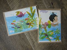 Handmade Vintage Book Page Greeting Cards With Envelopes (set of 2) – Splish Splash by blackbirdievintage on Etsy
