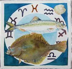 Zodiac fishes of the Baltic Sea (c) watercolor by Frank Koebsch, 21 x 21 cm, $270; More information about the Zodiac can be found at http://frankkoebsch.wordpress.com/2012/02/20/sternzeichen-fische/