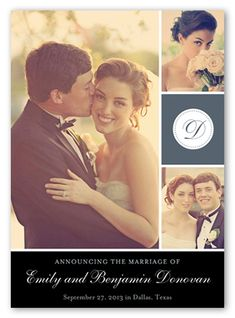 Initially Dotted Wedding Announcement, Square Corners, Grey