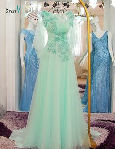 Dressv A-line appliques beading long prom dress boat neck sexy backless short sleeves flowers prom dress formal evening dress - CEOsShop Teal Prom Dresses, Elegant Prom Dresses, Formal Evening Dresses, Formal Dresses, Prom Dress With Train, Dress Collection, Appliques, Beading, Backless