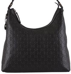 Gucci Women's Black GG Guccissima Leather GG Pendant Hobo Purse