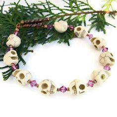 Handmade Magnesite Skull Bracelet Day of the Dead Pink Swarovski OOAK | ShadowDogDesigns - Jewelry on ArtFire