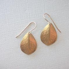 Hammered Teardrop Petal Earrings by marigoldmary