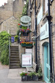 """The street where Nora Batty lived in BBC's comedy """"Last of the Summer Wine"""", in Holmfirth, West Yorkshire"""