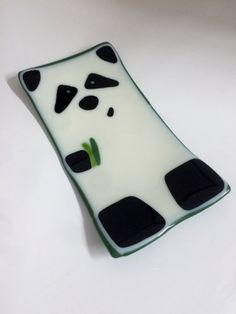 Fused Glass Sushi Plate Panda by JumpingCatGlass on Etsy