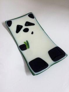 Fused Glass Sushi Plate Panda by JumpingCatGlass on Etsy