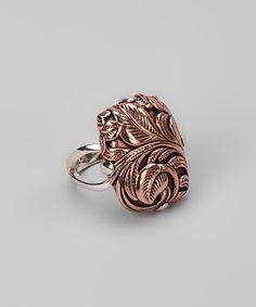 Sterling Silver & Copper Leaf Ring