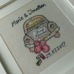 Personalised Wedding Picture featuring a VW Beetle with a 'Just Married' sign on the back, trailing balloons and tin cans. The background fabric is a natural cotton linen. The artwork is sketched including the names and fabrics are chosen and cut to fit. Freehand Machine Embroidery, Free Motion Embroidery, Machine Embroidery Applique, Applique Patterns, Hand Embroidery, Embroidery Ideas, Fabric Cards, Fabric Gifts, Wedding Day Cards