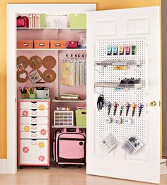 Need craft room storage? Try these easy craft storage ideas to get your craft space organized, neat and easy to work in! Organize your craft supplies! Craft Room Storage, Craft Room Closet, Craft Rooms, Closet Space, Storage Ideas, Door Storage, Storage Solutions, Easy Storage, Pegboard Storage