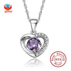 GALAXY Romantic Girl's 925 Sterling Silver Sparkling 1ct CZ Diamond Heart Shape Pendant Necklace for Women Fashion Jewelry YN046