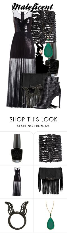 """""""Maleficent"""" by amarie104 ❤ liked on Polyvore featuring OPI, Pieces, Disney, BCBGMAXAZRIA, Steve Madden, Mali Sabatasso and Yves Saint Laurent"""