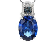 10.25ct Oval Lab Created Blue Spinel With .05ctw Round Blue Diamond Ac