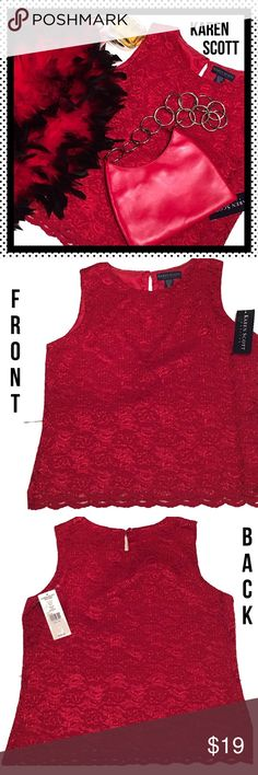"KAREN SCOTT ❤️Red ❤️Lace Tank Top - Pet. Med - NWT Brand NWT KAREN SCOTT gorgeous ❤️🌹red lace tank top, size petite medium.  Shoulders. - 13"", bust - 18 1/2"", length - 22"". Karen Scott Tops Tank Tops"