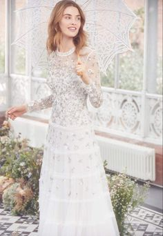 Discover our new bridal collection, 'Fallen For You', featuring tiered ruffle wedding gowns, embellished wedding dresses and soft ombre ballerina length skirts. High Street Wedding Dresses, Traditional Gowns, Sequin Midi Dress, Tulle Bows, Bridal Dresses, Wedding Gowns, Reception Dresses, Wedding Reception, Brie