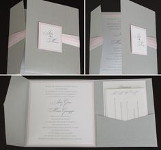 silver and pink invite