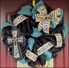 Zebra and Burlap Wreath by aDOORableDecoWreaths on Etsy, $64.99