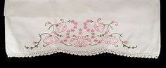 PAIR PRETTY VINTAGE EMBROIDERED PILLOWCASES CROCHETED EDGE PINK FLOWERS POPPIES