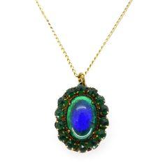 Vintage Art Deco Peacock Eye Foil Glass Panel Pendant Necklace | Clarice Jewellery