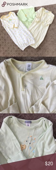 Mint condition Gap and Carters Layette sleepers. Set of 3 Gap and Carters Layette sleepers size 0-3 mo. Neutral colors.   Banded cuff Great for easy night time diapering Super soft GAP Pajamas Sleep Sacks