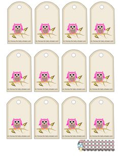 Free Owl Printables | free owl themed favor tags for girl baby shower