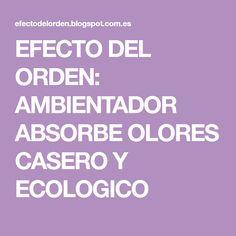 EFECTO DEL ORDEN: AMBIENTADOR ABSORBE OLORES CASERO Y ECOLOGICO