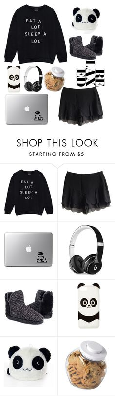 """Panda Sleep"" by darkangel707 ❤ liked on Polyvore featuring Beats by Dr. Dre, Muk Luks, Charlotte Russe, OXO and LovelyLoungewear"