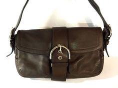 Coach 3653 Soho Hobo Purse Hand Shoulder Bag Brown Soft Glove Leather Buckle #Coach #ShoulderBag