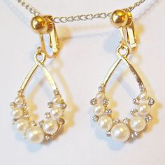 CLIP ON 1in White Faux Pearl Rhinestone Gold Tone Non Pierced Earrings S147 #Unbranded #DropDangle