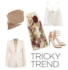 """""""Sans titre #66"""" by congolaisement ❤ liked on Polyvore featuring Yves Saint Laurent, Akira, Valentino, Alexander McQueen, TrickyTrend and culottes"""
