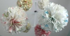 Etsy find of the day – vintage fabric pom pom mobile
