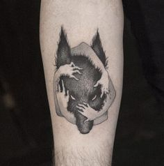 The rising star of surrealistic blackwork tattoos is Sven Rayen. Gorgeous tattoo!