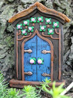 Pink Rose Fairy Door by HiddenWorlds on Etsy