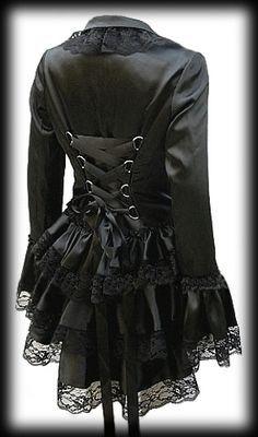 Plus Size Black Satin Gothic Burlesque Corset Bustle Jacket