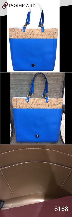 Ralph Lauren Hanway Cork Lighthouse Blue Tote Ralph Lauren Hanway Cork Lighthouse Blue Tote.  Gorgeous blue color!💙.  Inside features large slip pocket.  Outside features chunky chain link on handles and silver logo emblem on the front.  Great tote to use as a handbag, work tote or carry on. Ralph Lauren Bags Totes