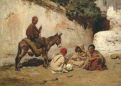 Frederick Arthur Bridgman (1847 – 1928) Arab Children Playing Cards