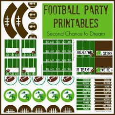 Second Chance to Dream Football Party Printables #superbowl #birthdayparty #party #tailgate